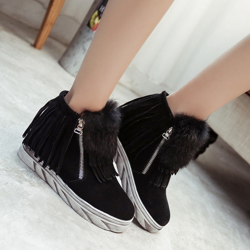 Zapatos Ag456 Cargadores grey Aumento Lateral Borla Para Interior Martin Con Tobillo Las La Botas De Cremallera Mujeres El Black En Felpa Plana Del Bxp0HnnRwq
