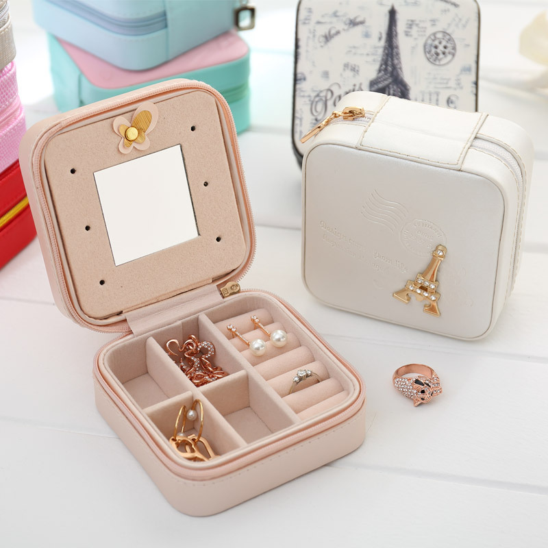 Hot Sales Women Gift Jewelry Box Travel Makeup Organizer Faux Leather Case with Mirror and Zipper Cosmetic Case Organizer#231337
