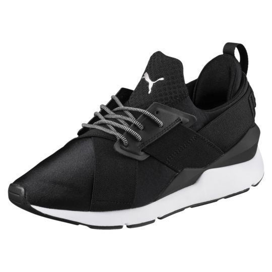 Original Puma Running Shoes Women's Muse Satin Ep WN's Low-Top Sneakers, Black EUR Size 35.5-39