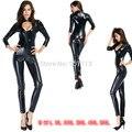 Hot Sexy Lady Couro Preto de Látex Catsuits Low Cut Com Zíper Virilha Aberta Elástico Bar Clubwear Wetlook PU Bodysuit Collant