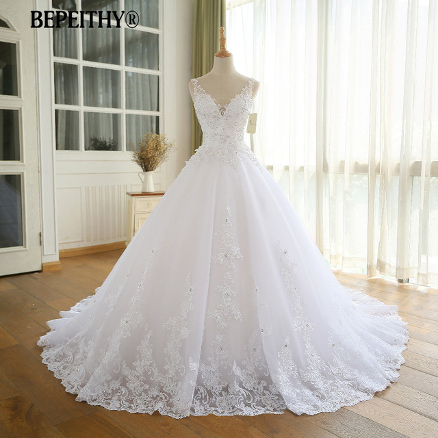 מדהים כדור שמלת חתונת שמלה עם תחרה Vestido דה Novia Vintage חתונת שמלות תמונה אמיתית כלה שמלת 2019