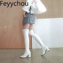 Женские сапоги, Осень-зима, теплые, на высоком каблуке, выше колена, с острым носком, на молнии, из плюша,, Pu искусственная кожа, новые, модные, белые, черные, большой размер 34-47