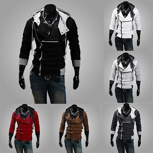 Men Fashion Side Zip Design Hooded Sweatshirt Long Sleeve Slim Fit Hoodie Coat