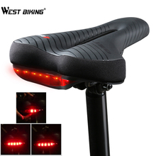 WEST BIKING Waterproof Bicycle Saddle With Bike Taillight PU Leather Seat for Road MTB Rear Light