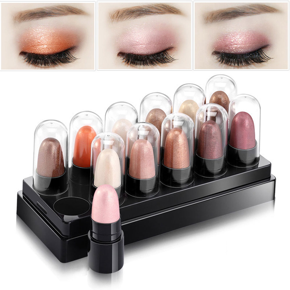 12pcs set Eyeshadow Pallete Beauty Makeup Highlighter Naked Eyeshadow Pencil Make Up Palette Glitter Eye Shadow Pen Set Hot Sale in Eye Shadow from Beauty Health