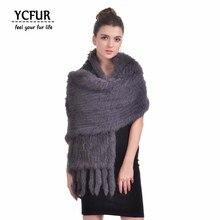 YCFUR 170 см, женские шали, шарфы, зимние, мягкие, теплые, ручная работа, вязаные, натуральный кроличий мех, шарфы, шарфы, длинный шарф с кисточками, женские