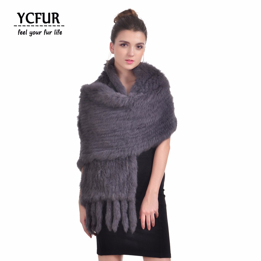 YCFUR 170 cm Women Shawls   Scarves   Winter Soft Warm Handmade Knit Natural Rabbit Fur   Scarves     Wraps   With Tassels Long   Scarf   Female