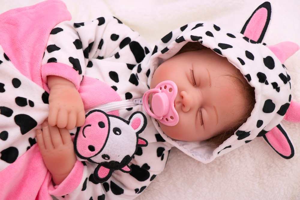 55cm alive Ethnic doll Reborn Baby Dolls Girl Silicone Bebes Reborns Real Reborn Dolls PP filling with Cow clothes unique toy