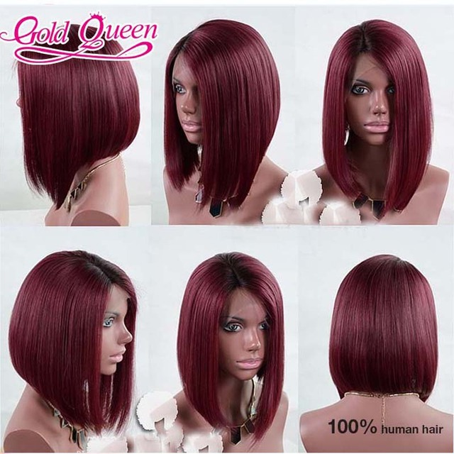 Top Ing Ombre Full Lace Wig 14 Inch Short Burgundy Peruvian Virgin Hair Bob Haircuts With