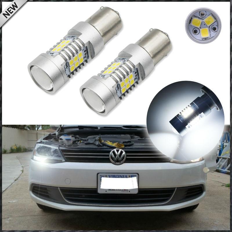 (2) 21-SMD 360-Degree Illumination Error Free 1156 7506 S25 LED Bulbs For 2011-2017 Volkswagen MK5 Jetta Daytime Running Lights