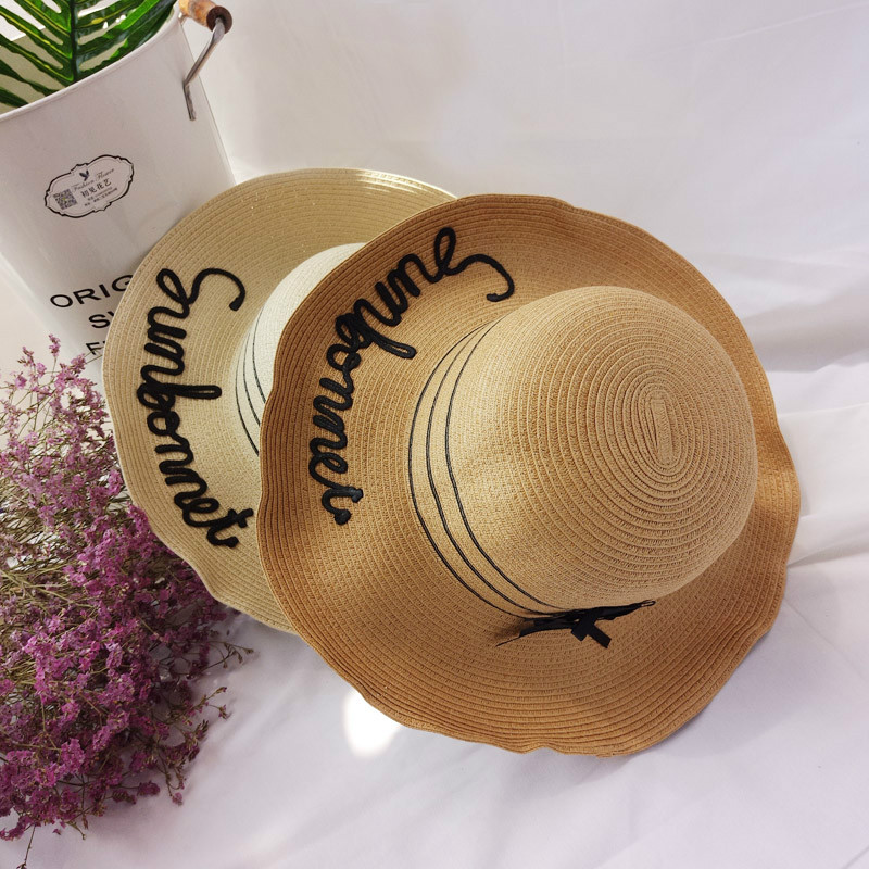 2017 Korean Version Of The Letter Embroidery Wild Big Brimmed Hat Beach Vacation Shade Three Bow Big Along The Shade Straw Hat Discounts Sale