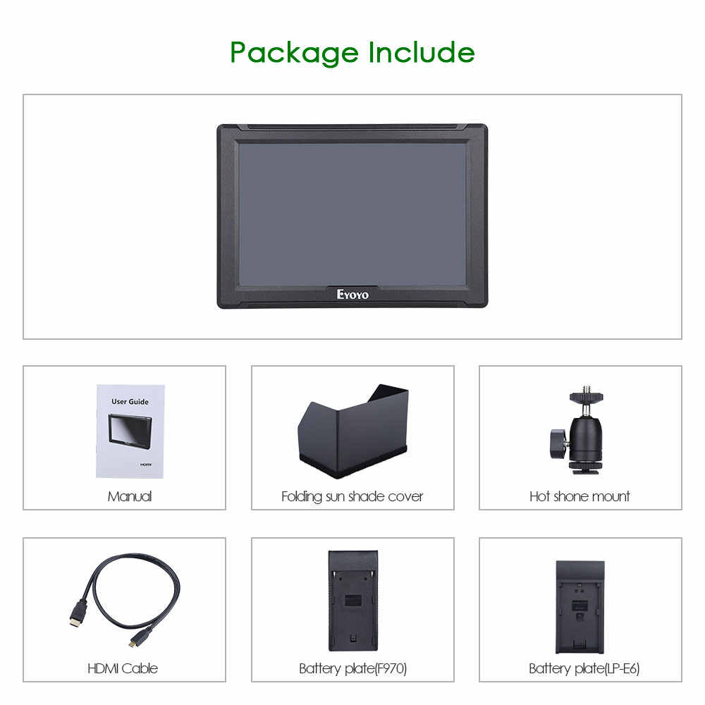 """Monitor de cámara 4k Eyoyo E7S, DSLR, Full HD, 1920x1200p, Monitor de 7 """", área pulgadas, HDMI, cámara pequeña, Monitor de vídeo IPS 4K"""