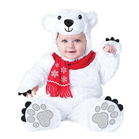 New Infant Toddler Baby Boys Girls White Polar Bear Animal Costume Halloween Dress up Cosplay Outfits Purim Holiday Costume