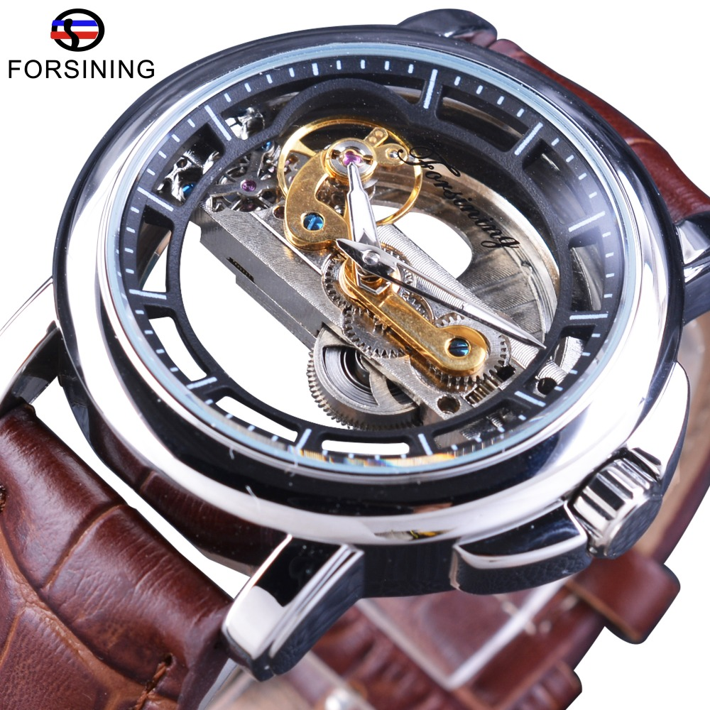 Forsining Mens Watches Top Brand Luxury Automatic Self-wind  Brown Genuine Leather Band Water Resistant Mechanical Wristwatches forsining fashion brand men simple casual automatic mechanical watches mens leather band creative wristwatches relogio masculino