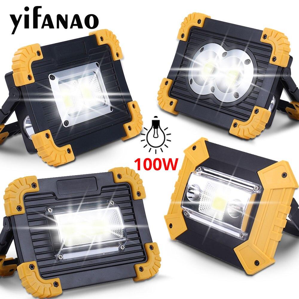 100 w led portátil spotlight 3000lm super brilhante led luz de trabalho recarregável para acampamento ao ar livre lampe led lanterna por 18650