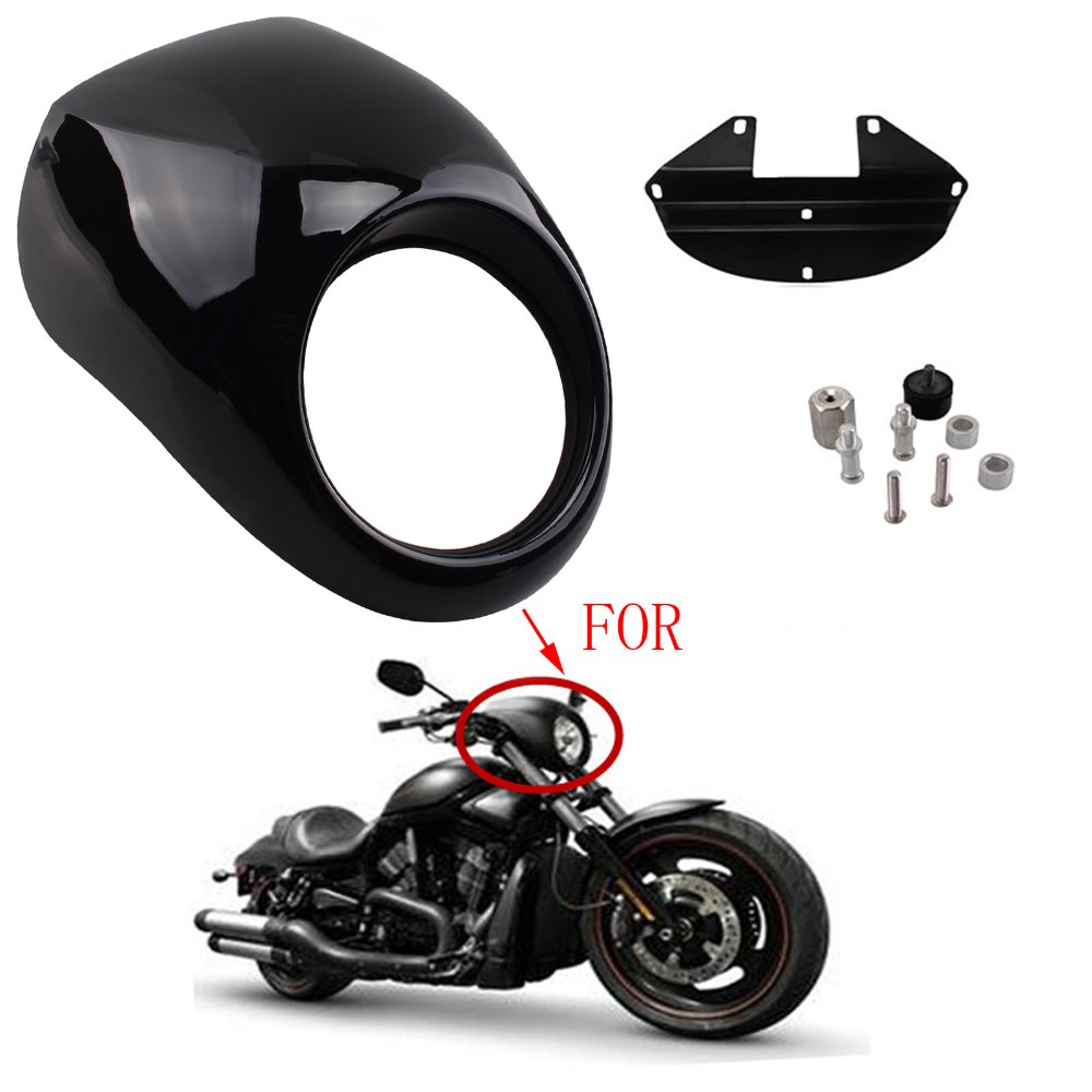 Motorcycle Headlight Faring Mask Cover GlossBlack Front Cowl Fork Mount Bezel For Harley Davidson Sportster Dyna FX/XL 1973-up Harley-Davidson Sportster