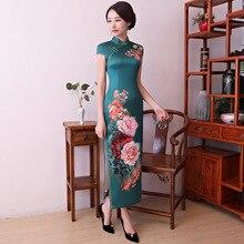 New Green Chinese Vintage Sexy Satin Cheongsam Women Print Slim Ankle-Length Dress Lady Novelty Flower Long Qipao S-XXXL