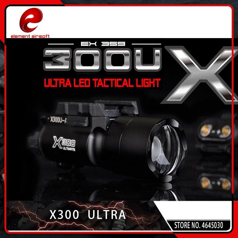 Element Airsoft Surefir X300 Ultra arme lampe de poche pistolet lanterne Softair X300U mode lumière 370 Lumen avec Picatinny Rail noir