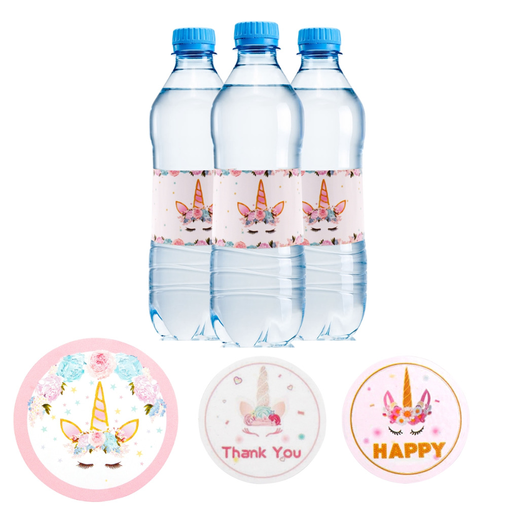 Patimate diy unicorn party sticker water bottle wedding favors candy box stickers birthday party decoration unicorn sticker box in party diy decorations