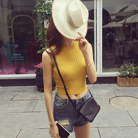 Knitted Women Tank Tops Fashionable Lady Spring Summer Short Style Vest O Neck Sexy Camis Female