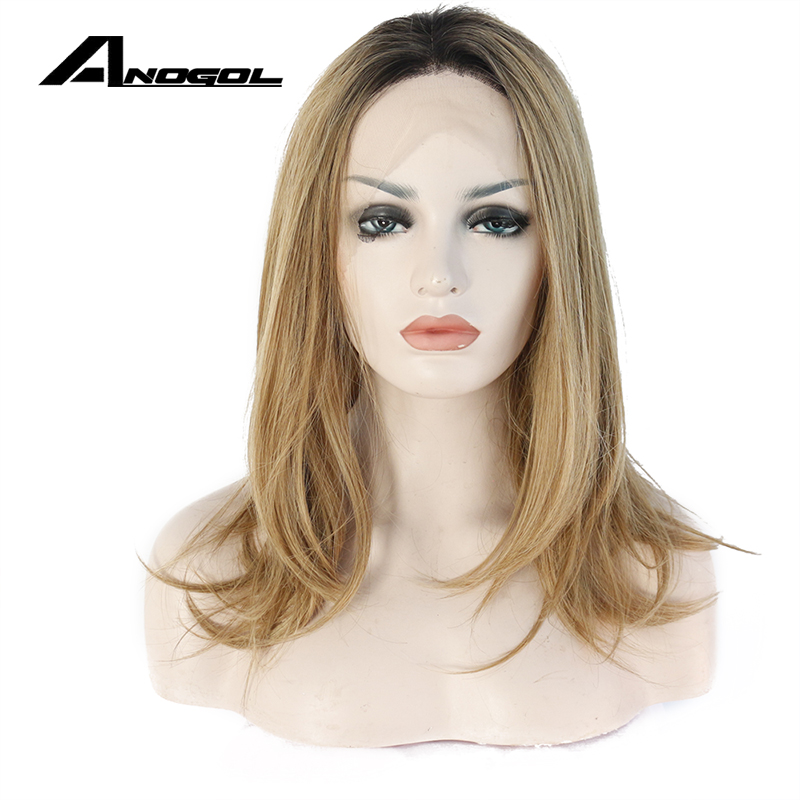 Anogol High Temperature Fiber Peruca Cabelo Short Natural Wave Bob Wigs Brown Ombre Blonde Synthetic Lace Front Wig For Women