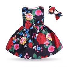 e0f5379829 2018 Back Heart Hole Dress Headband Kid Baby Girls Clothes Lovely Floral  Bowknot Princess Party Sleeveless
