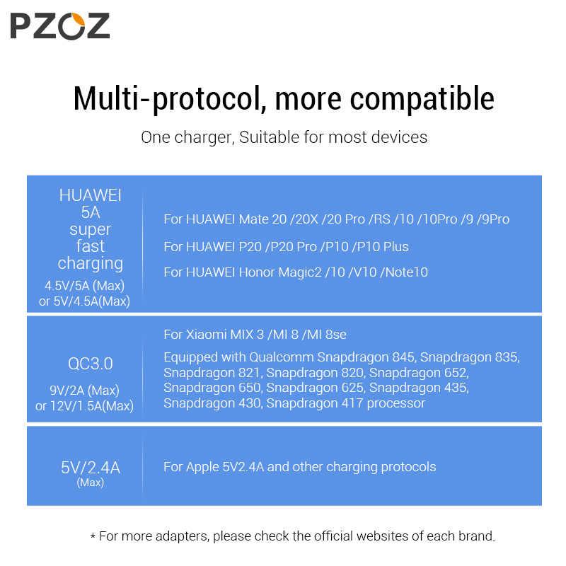PZOZ 5A شاحن فائق الاتحاد الأوروبي محول القابس لهواوي P20 p10 ماتي 20 برو 10 لايت الشرف سريع تهمة شاحن يو اس بي 5 فولت/4.5A Supercharge