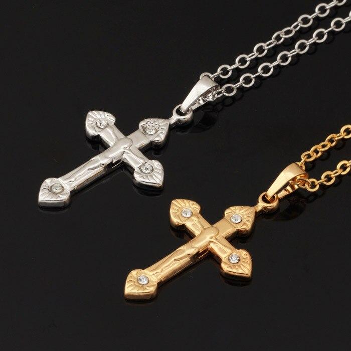 Jesus Cruz Colar Mulheres Homens Jóias Amarelo da Cor do Ouro Do Vintage Da  Moda Jóias Colares   Pingentes de Crucifixo Religiosa P265 27952c9d15