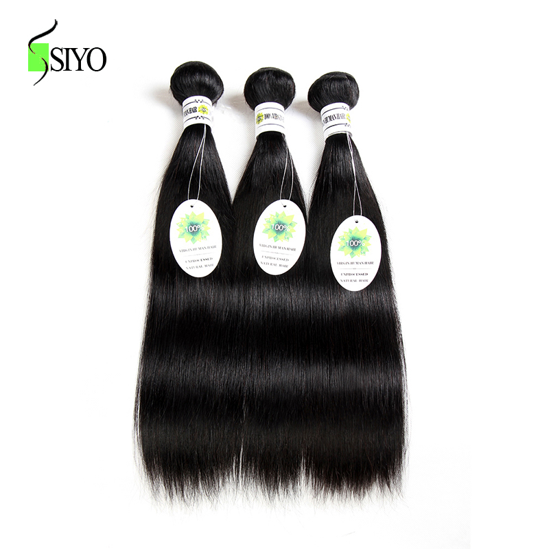 SIYO Brazilian Straight Hair 100% Human Hair Bundles 3PCS Double Weft Hair Extensions Can Be Dyed Non-remy Hair