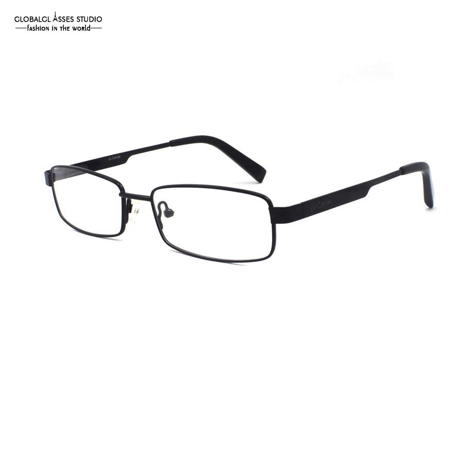 Retângulo de Metal Lente Óculos de Armação Homens Cor Preta Flex Dobradiça  Ponta do Acetato Prescrição Espetáculo Quadro de Empresários LC304 8b9593472f