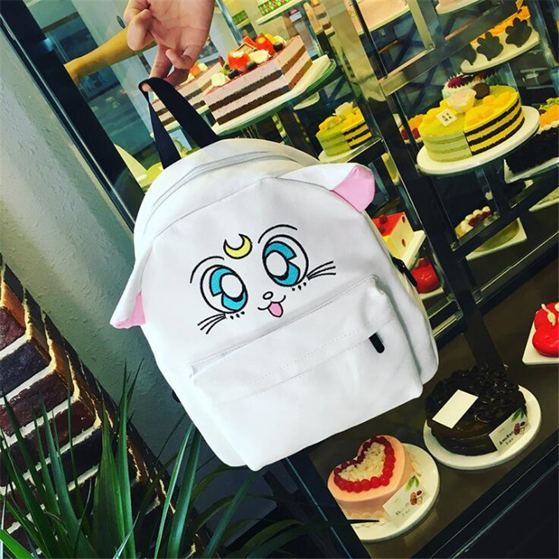 Anime Sailor Moon Cartoon Backpack Lady Girl Cute Embroidery Cat White Canvas Student Schoolbag Backpack