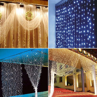 600LED 6*3m Waterfall Curtain Fairy Dreamlike Waterproof String Lights for Wedding Party Home Wall Garden Holiday Festival Decor