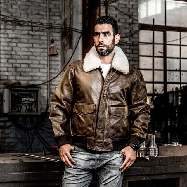 806e41de4 US $253.3 15% OFF AVIREX FLY 2018 Genuine Leather jacket Men Bomber Jacket  Fur Collar Cowskin Short Air Force Flight Jacke Vintage Winter Coat-in ...