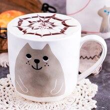 Cartoon Cute Cat Ceramic Unique Porcelain Tea Mug Creative Coffee White 330ML Cartoon Persian Cat Mug Milk Cup LJ156