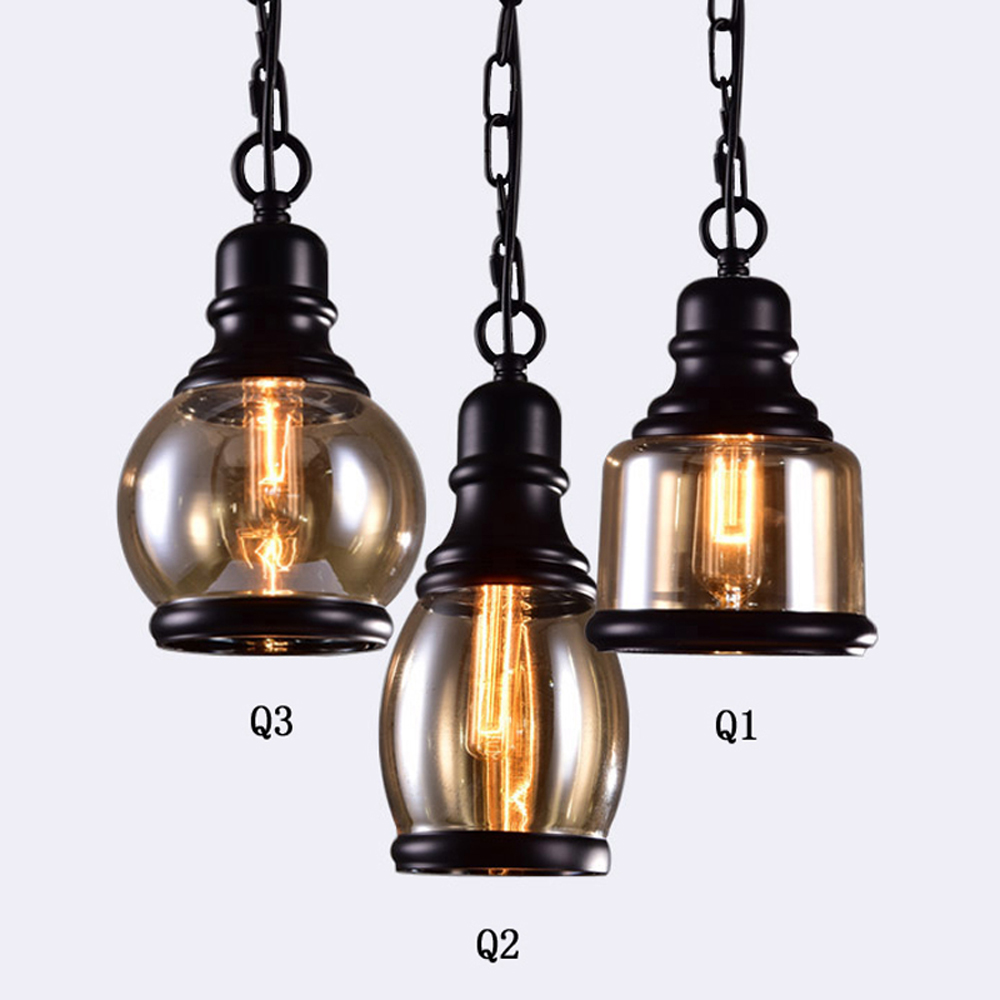 Vintage Kitchen Linear Island Glass Chandelier Antique Black Shade Glass Jar Light Max 120W con 3 luces acabado pintado