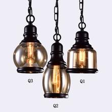 цена на Loft Pendant Light Industrial Style Glass Pendant Lamps Bar/Restaurant Light Retro Lamparas Colgantes Black and Amer Luminaire