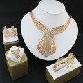 Бутик свадьбы комплект ювелирных изделий позолоченный кристалл ожерелье серьги браслеты кольца преувеличены женские аксессуары для одежды