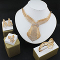 Boutique wedding jewelry set  gold plated crystal necklace earrings bracelets rings exaggerated women's clothing accessories