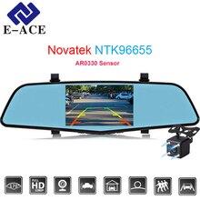 E-ACE 4.5 Pulgadas Novatek 96655 Sensor Cámaras Dvr Coche Con Dos cámaras Espejo FHD 1080 P Registrator Auto Dash Cam Video Recorder Dvr
