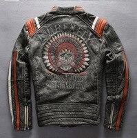 Vintage Indian skeleton flight bomber jacket sheepskin slim skulls collar pilot leather jacket mens male boys motorcycle blazer