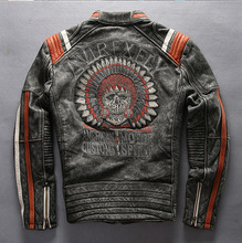 Vintage Indian skeleton flight bomber jacket sheepskin slim skulls collar pilot leather jacket mens male boys motorcycle blazer