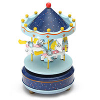 Musical Carousel Horse Wooden Carousel Music Box Toy Child Baby Deep Blue Game