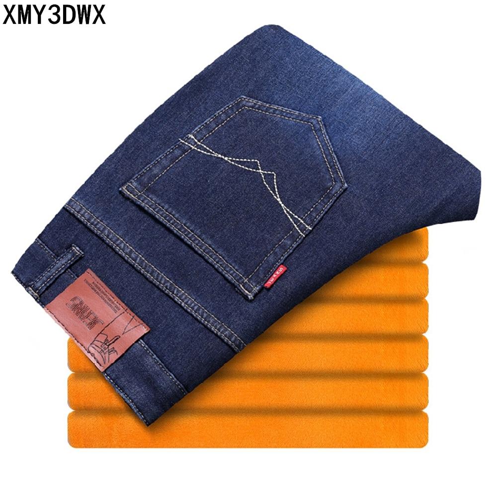 2017 Mens Winter Fleece Jeans Classic Stretch Warm Cotton Denim Pants Male Jeans Designer Men's Warm slim casual Trousers 28-40 mens cotton fleece shorts jogging casual home wear mma boxing s 2xl