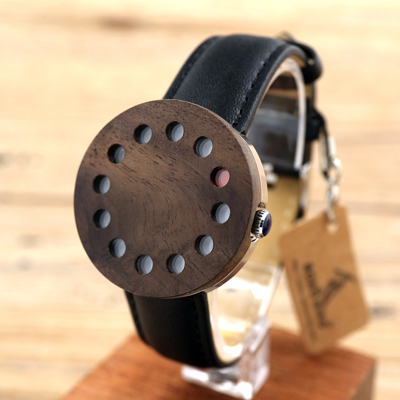 ФОТО BOBO BIRD C12 12holes Design Wood Watches Mens Watches Top Brand Luxury Watch For Women Real Leather Straps as Christmas Gifts