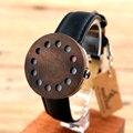 BOBO de AVES C12 12 agujeros de Madera De Diseño Relojes Para Hombre Relojes de Primeras Marcas de Lujo Reloj Con Correas De Cuero Reales como Navidad regalos