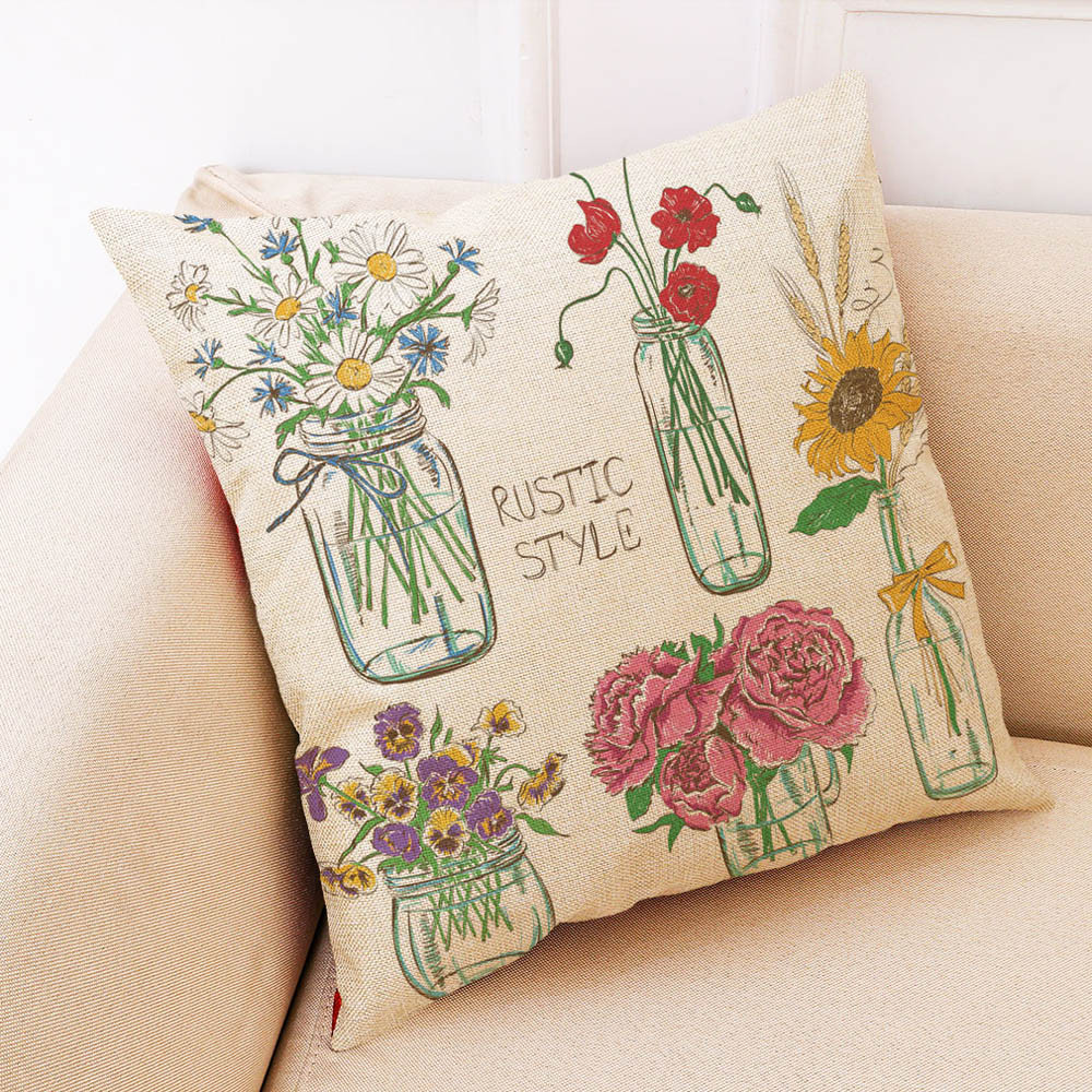 Image 4 - Sunmer Time vase Multicolor printing Pillow Covers Linen Blend High Quality Sofa Waist Throw Cushion Cover Bed Home Decoration-in Cushion Cover from Home & Garden
