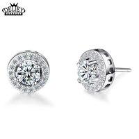 Simple Pendientes de Plata Esterlina Para las mujeres Y Los Hombres Redondos Pequeños Aretes de Circonio de Diamantes CZ Hermosas Joyería Fresca Al Por Mayor