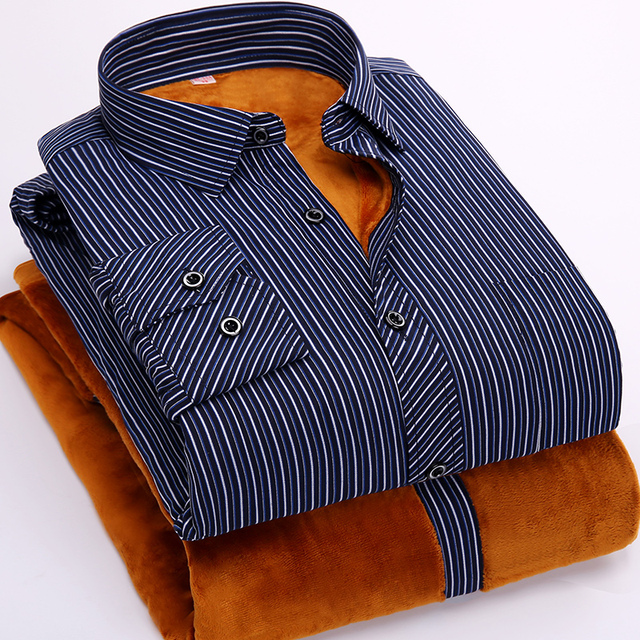FillenGudd 2019 Winter 8xl plus size mens Casual Striped shirts Cheap High Quality thermal Long Sleeve Velvet big size clothing