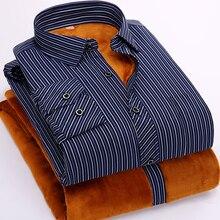 FillenGudd 2019 invierno 8xl de talla grande para hombre Casual rayas camisas barata de alta calidad térmica larga de manga de terciopelo ropa de talla grande