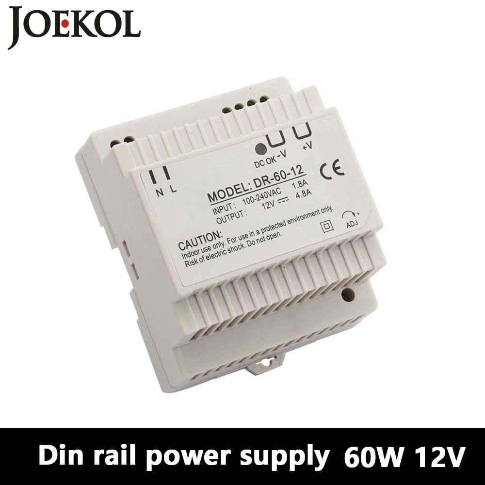 DR-60 Din Rail Power Supply 60W 12V 4.5A,Switching Power Supply AC 110v/220v Transformer To DC 12v,ac dc converter ac dc dr 60 5v 60w 5vdc switching power supply din rail for led light free shipping